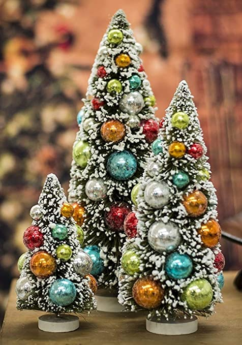 pretty nice 6618f d17d2 Whimsy Tabletop Bottle Brush Christmas Trees with Colorful Ornaments, Set  of 3