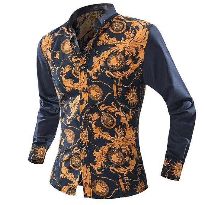 ❤️Camisa Hombre, Heligen Camiseta Ocasional de los Moda de Impresión Manga Larga Hombres Sleeve Camisas Hombre Manga Larga Sujetador Camisa de Manga Larga ...