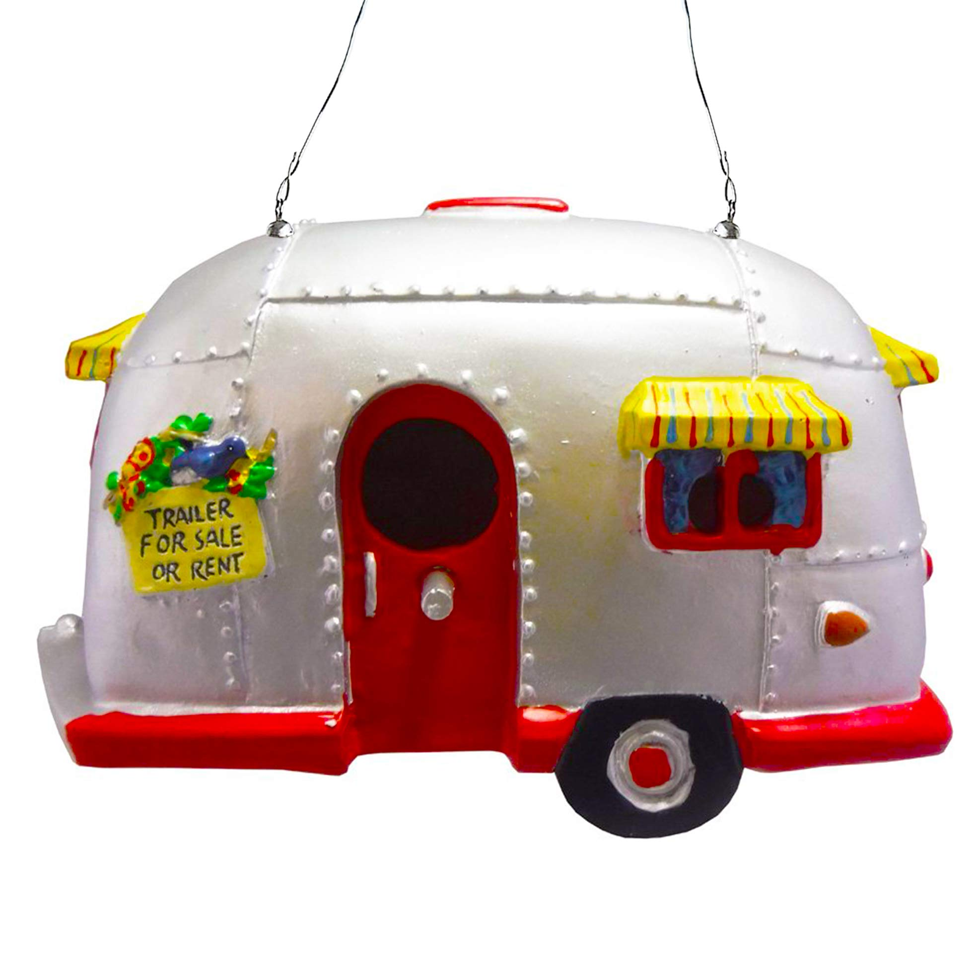 Big Mo's Toys Rv Style Trailer Birdhouse, Resin Bird House for Garden or Patio