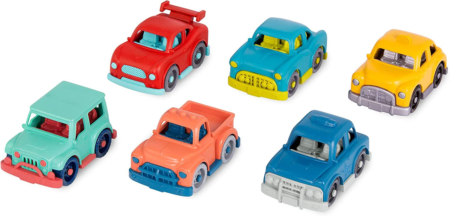 Wonder Wheels by Battat – Toy Cars – Set of 6 Mini Vehicles – Racer, Pick-Up Truck, Police Car, Taxi, Retro Car, 4x4 – Cars for Toddlers, Kids – 1 Year +, Multicolor (VE1037Z)