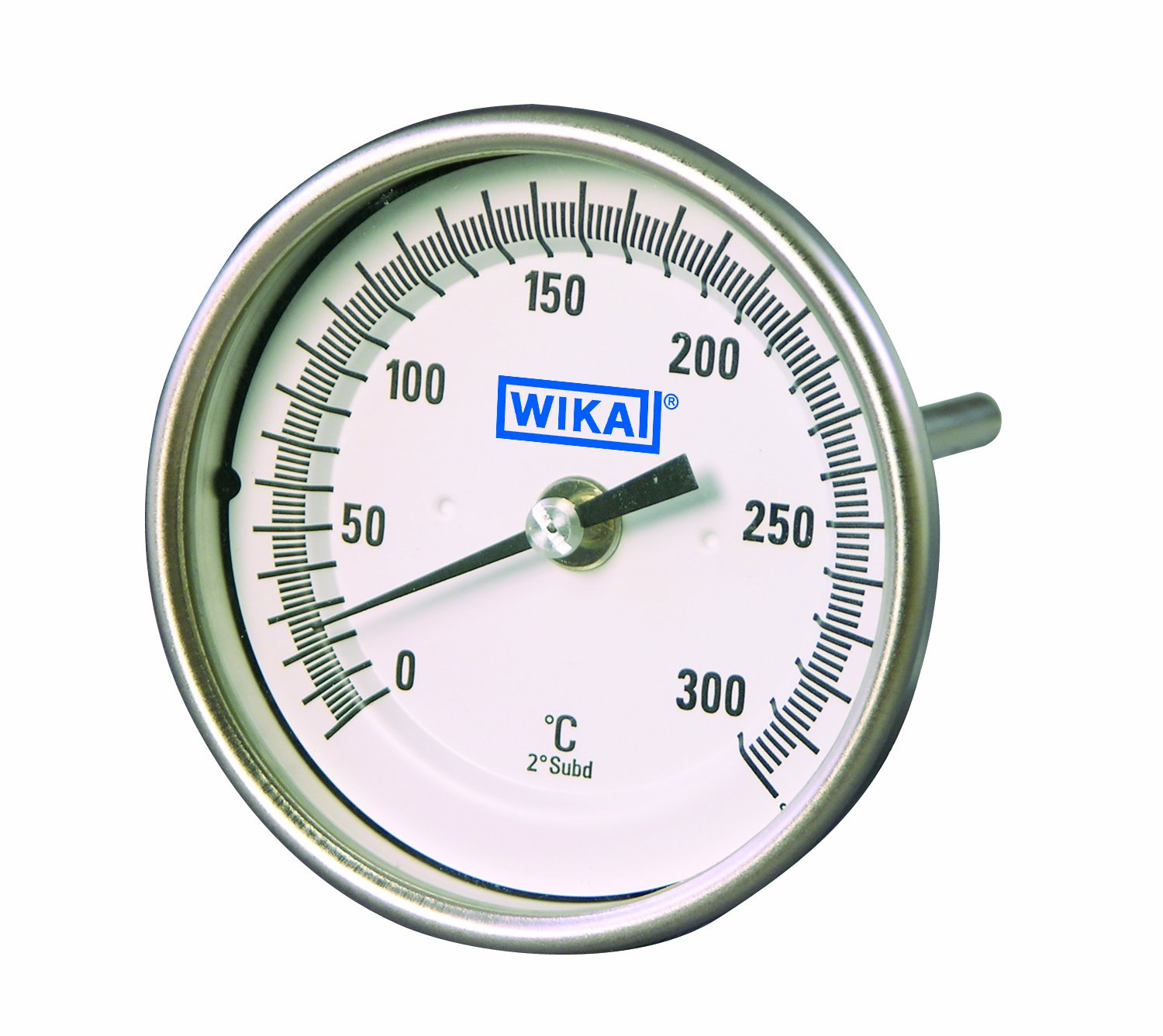 WIKA TI.33 Stainless Steel 304 Industrial Grade Non Resettable Bi-Metal Thermometer, 3'' Dial, 50/550 Degrees F, 9'' Stem, 1/2'' NPT Connection, Back Mount