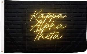 Kappa Alpha Theta Sorority Flag Banner 3 feet x 5 feet Sign Decor (Flag - Neon Sign)