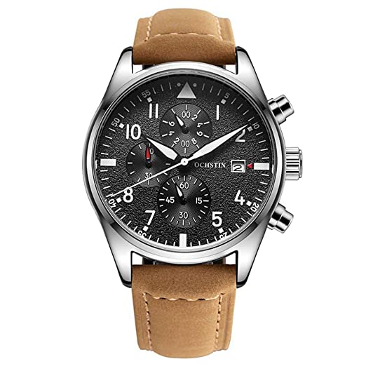 Reloj Para Hombre,Reloj Multifuncional Para el Calendario Para Hombres,Cronógrafo Correa Reloj Popular: Amazon.es: Relojes