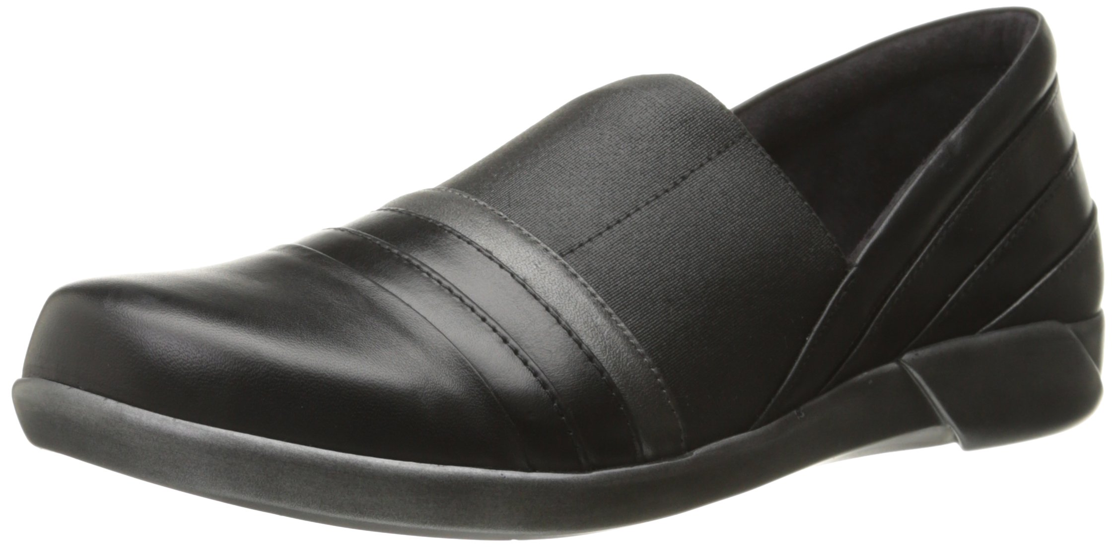 Naot Women's Nina Flat, Black Raven Leather/Black Madras Leather/Metallic Road Leather, 38 EU/6.5-7 M US