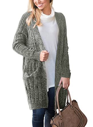 71e5baa5080 Happy Sailed Women Long Sleeve Ribbed Open Front Long Sweaters Cardigan  Outwear with Pockets S-XXL at Amazon Women s Clothing store