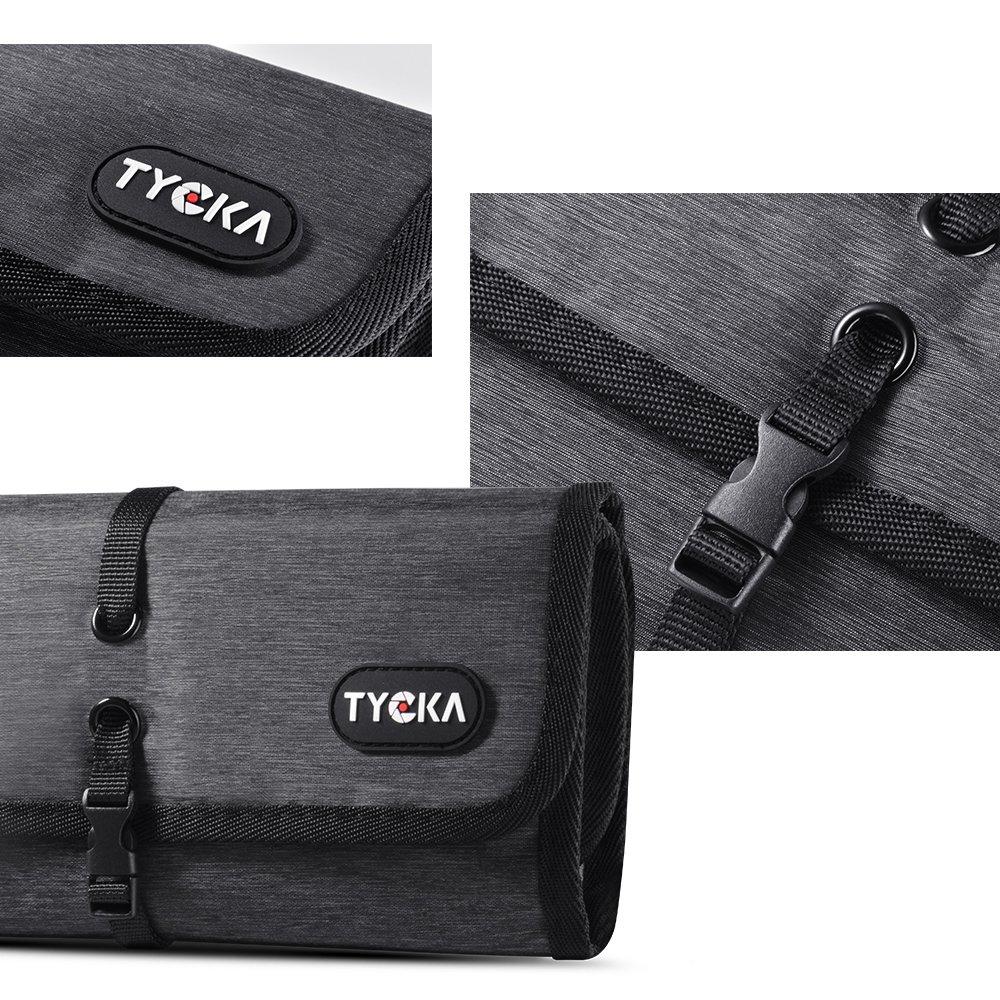 Cordon Cartes SD USB TYCKA Mini Sacs de Voyage pour Rangement dAccessoires /Électroniques avec Deux S/éparateurs R/églables pour C/âble Chargeurs Gris Fonc/é