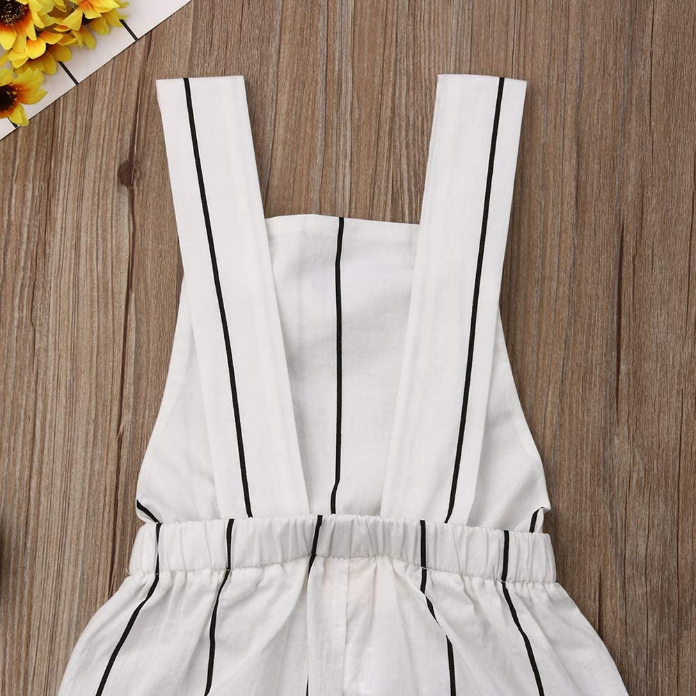AUTIFUA Toddler Kid Baby Girls Sleeveless Halter Romper Striped Jumpsuit Bodysuit Bib Pants Overalls Outfits
