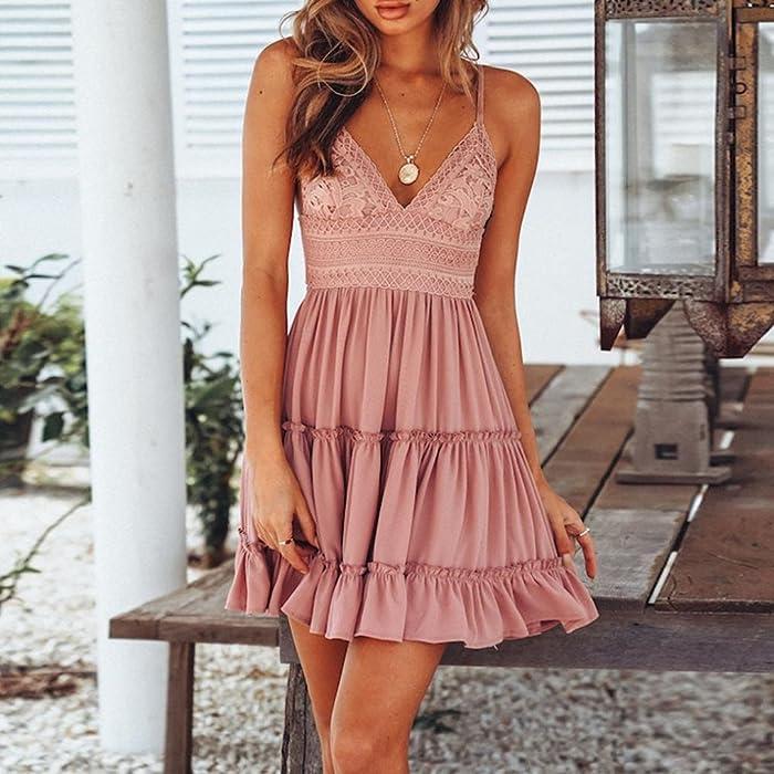 a194c3504d Women Summer Backless Mini Dress White Evening Party Beach Dresses Sundress( Pink