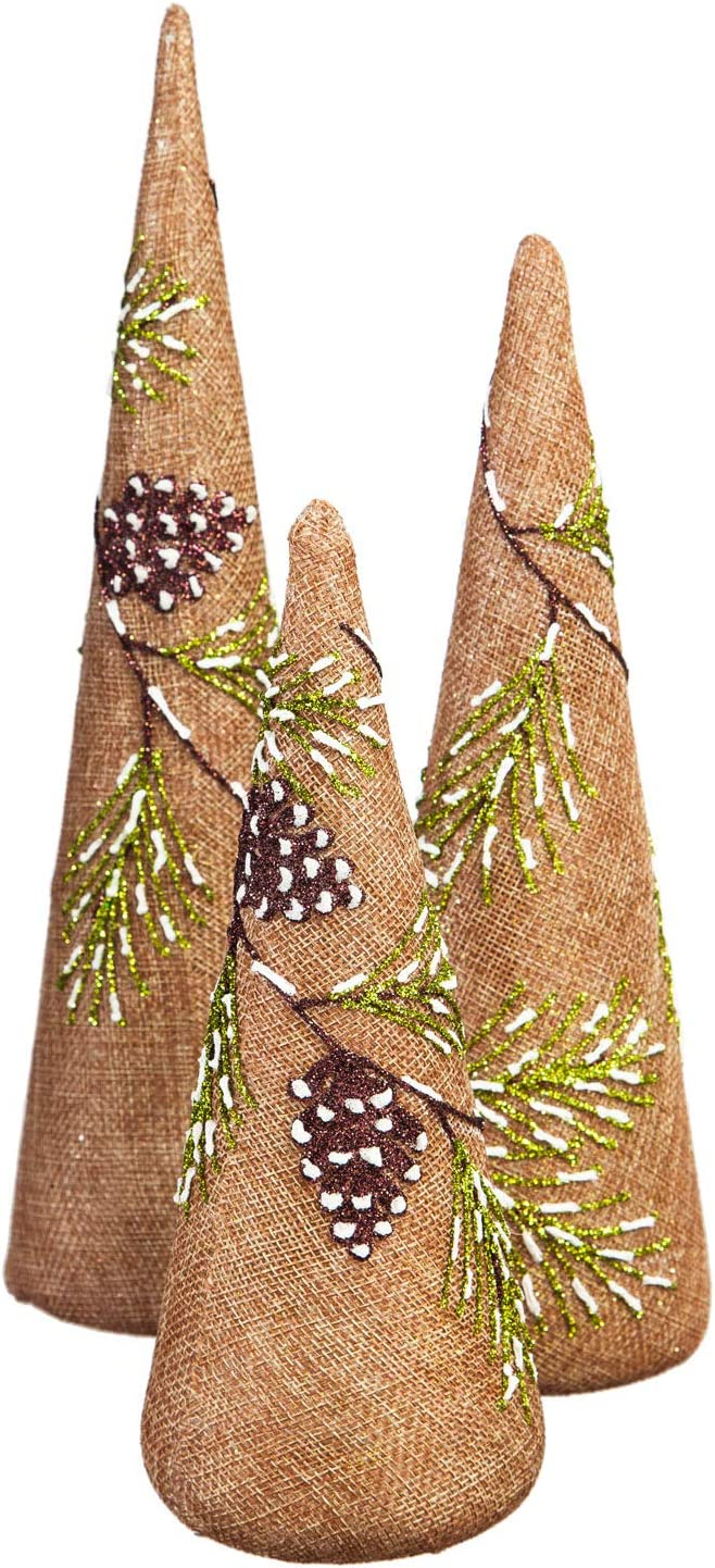 Cypress Home Branch and Pinecone Holiday Hand-Painted LED Illuminated Glass and Burlap Trees, Set of 3