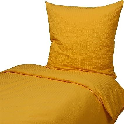Hans Textil Shop Seersucker Bettwäsche 155x220 80x80 Cm Gelb