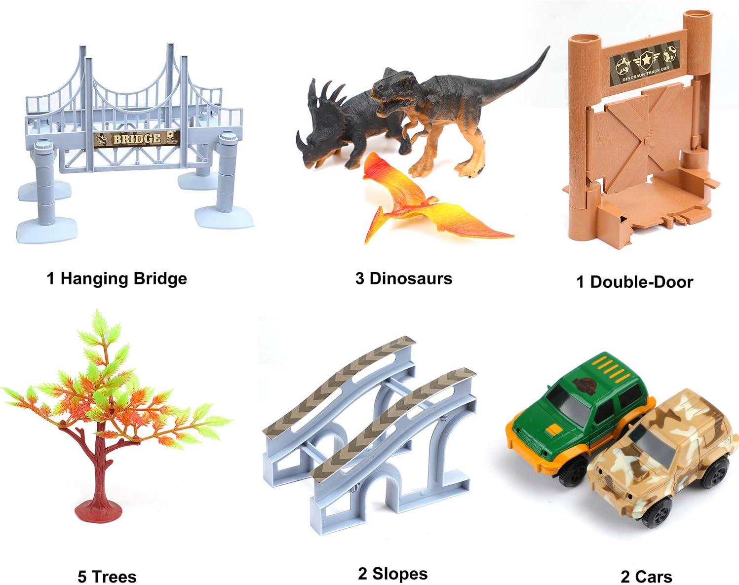 Create a Road Toys Set for Christmas /& Birthday Gift Ideallife Dinosaur Toys 144Pcs Race Car Flexible Track Safe Durable STEM Play Set for Boys Girls