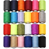 KING DO WAY Pack Of 24 ,1000 yard Polyester Spools Sewing Thread Cotton Reel Hand Machine Mixed Colour