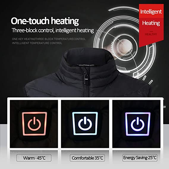 Frozac 3 Colors Men Electric Heating Vest Winter Thermal ...