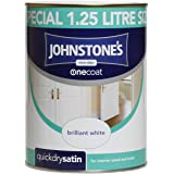 Johnstone's 303929 1.25 Litre One Coat Quick Dry Satin Paint - Brilliant White