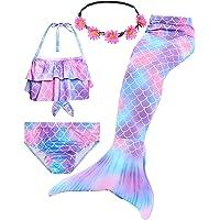 iLyberkiok Cola de Sirena 4 Piezas Trajes de Baño para Niñas Bikini de Natación Traje de Baño Regalo de Cumpleaños de…