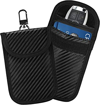 Wafly 2 X Rfid Autoschlüssel Keyless Schutz Keyless Go Blocker Mit Chain Strahlenschutz Tasche Für Keyless Schlüssel Kreditkarten Brieftasche Case Für Nfc Wifi Gsm Schlüsseletui Schutzhülle Schwarz Auto