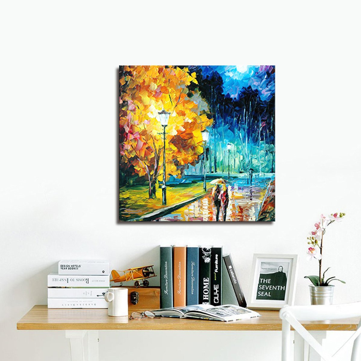 Modern Abstract Oil Paintings Wall Home Decor Artwork Abstract Extra Large-City Hand Painted on Canvas 24X24 Inch (Works Gorgeous 4)