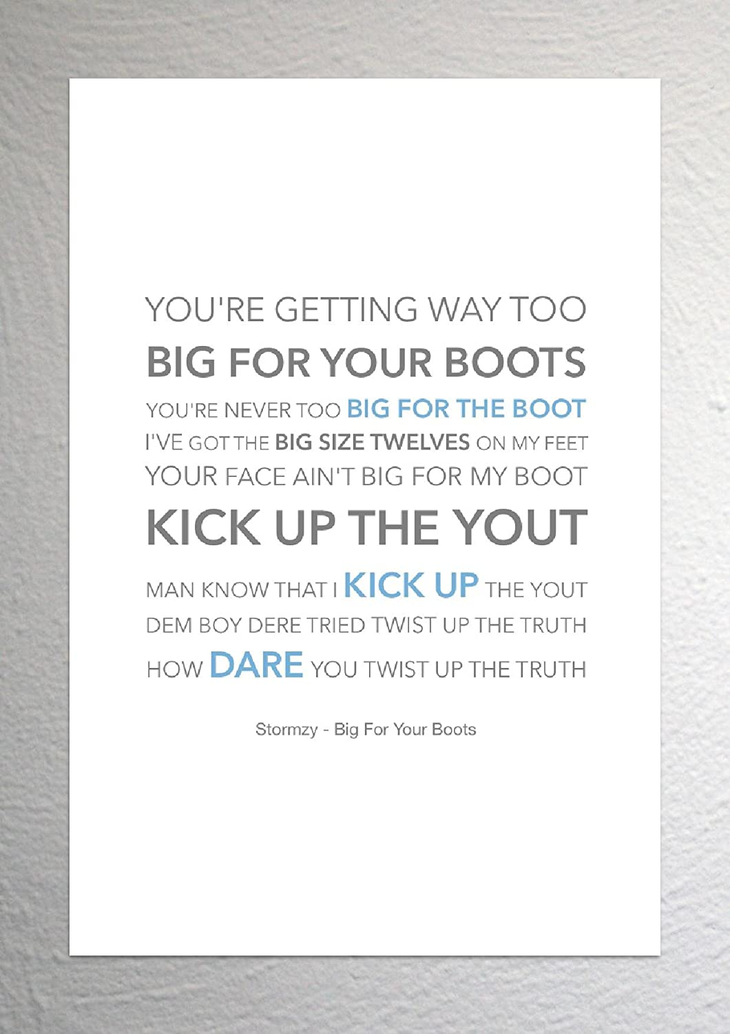 Your Boots Funky Lyric Art Print A4