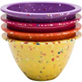 "Zak! Designs Confetti Classic Prep Bowls (Set of 4), Durable and BPA-free Melamine, 4"", Sherbet"
