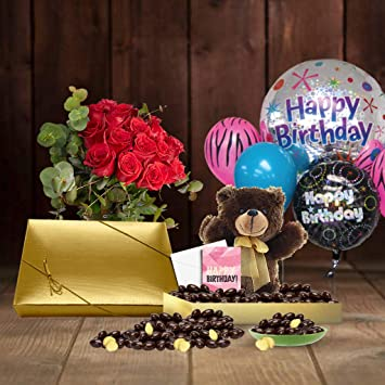 21st Birthday Gift Basket Plush Teddy Bear Premium California Vegan Chocolate Coated Ginger 1