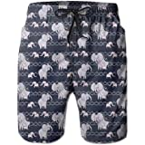 Mens Swim Trunks Quick Dry Elephant Stripe Wave Point Beach Board Shorts Bathing Suits with Pockets