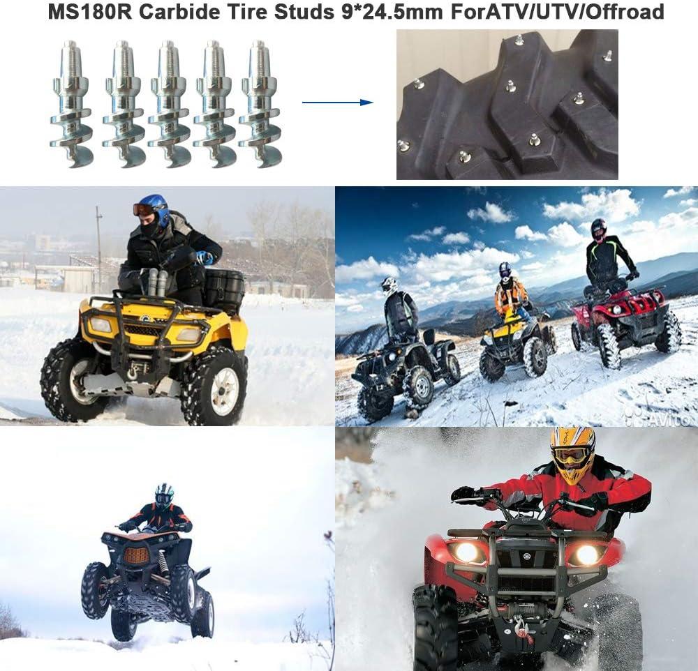 Security Anti-Skid 500 Tire Spikes for Dirt Bike Motorcycle ATV UTV ADV//Dual Sport,and Sport Bike 24.5mm Screw in Tire Stud,Marrkey Steel Body Carbide Tips