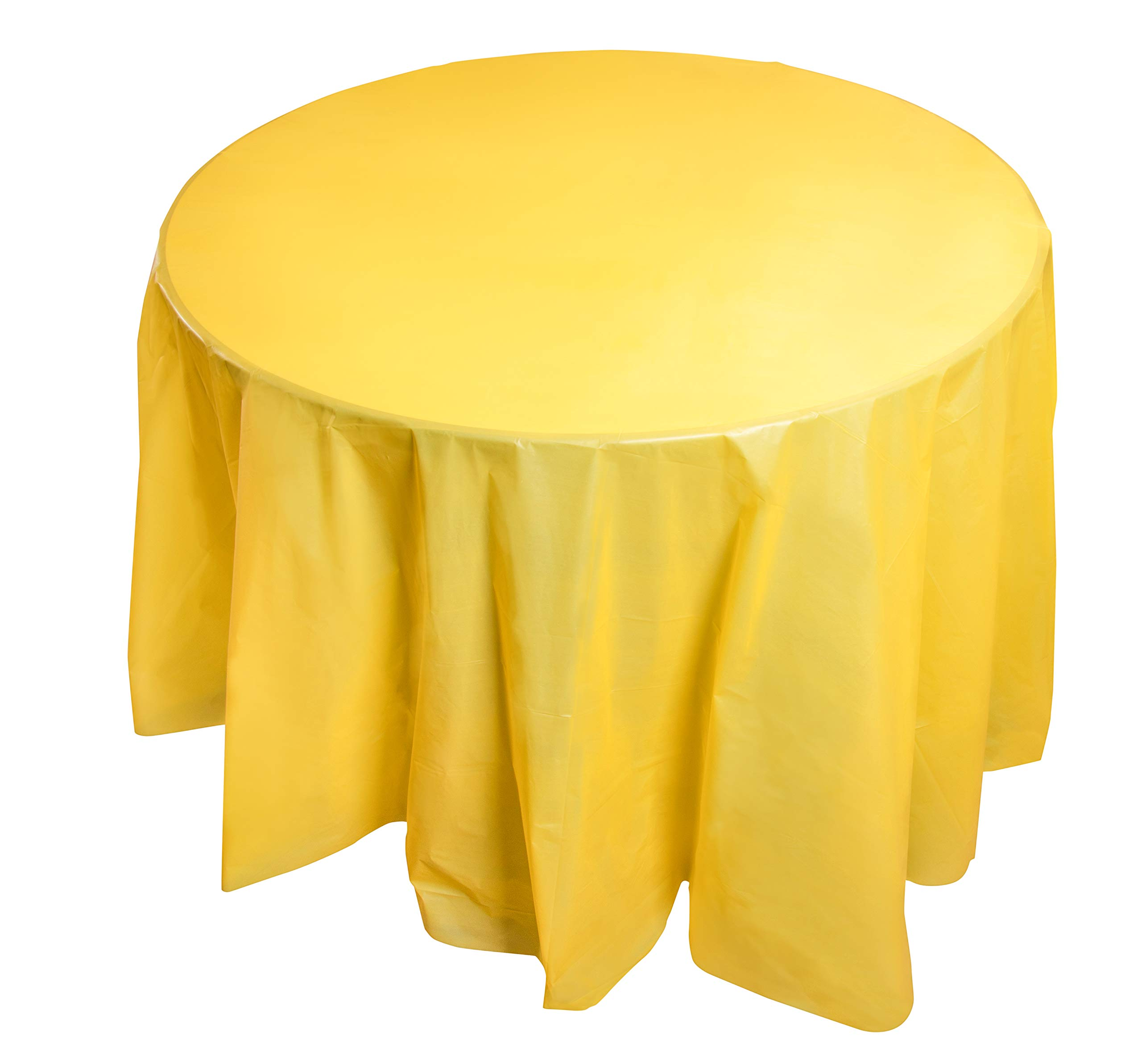 Juvale 12-Pack Yellow Plastic Tablecloth - 84-Inch Round Disposable Table Cover, Fits up to 72-Inch Round Tables, Yellow Themed Party Supplies by Juvale