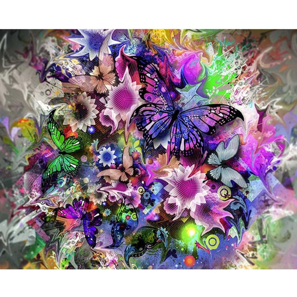 Keepwin DIY 5D Diamond Painting, Multicolor Butterfly Flowers Rhinestone Embroidery Pictures Arts Craft for Home Wall 40x30cm (Butterfly and Flowers) Keepwin_Home & Kitchen
