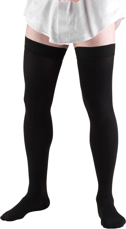 Truform Compression Socks, 20-30 mmHg, Men's Dress Socks, Thigh High Over Knee Length, Black, Medium
