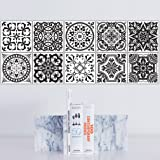 Tile Sticker for Kitchen & Bathroom Waterproof Anti-mold 10PCS 8x8 Inch Retro Removable Pearly Backsplash Tile Wall Sticker Stairs Decals