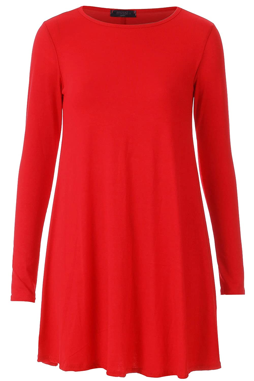 Forever Women's Long Sleeves Plus Size Plain Swing Hanky Dress