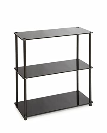 Convenience Concepts Designs2Go Midnight Classic 3-Shelf Glass Bookcase, Black Glass