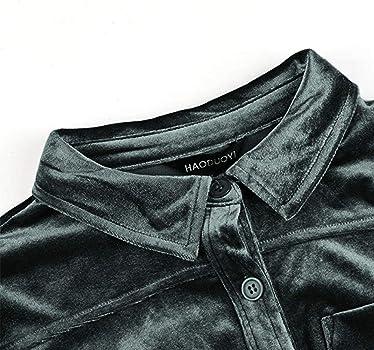 af900bdd3 Womens Simple Velvet Boyfriend Button Down Long Sleeve Top Shirt. HaoDuoYi  Womens Casual Vintage Velvet Long Sleeve Boyfriend ...