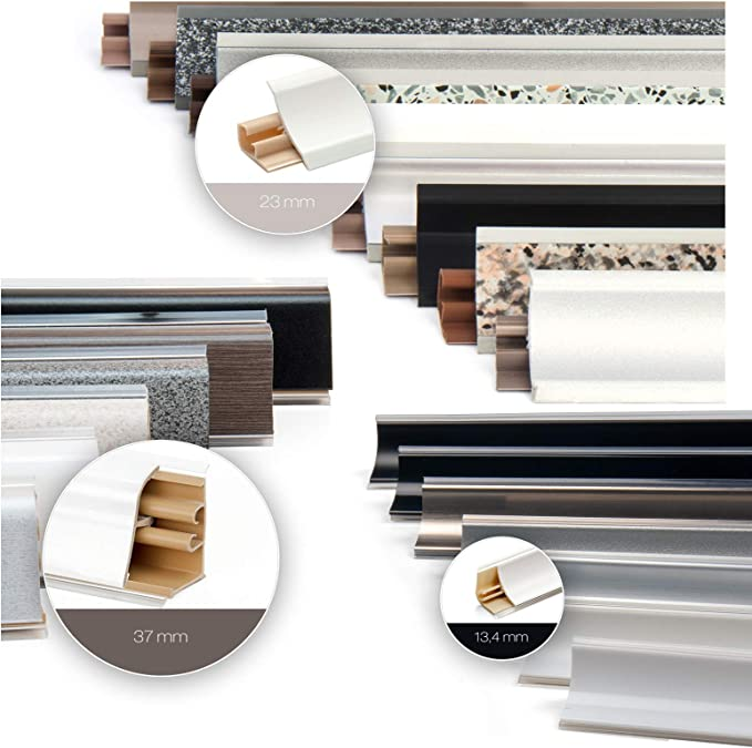 K/üchenleiste Arbeitsplatte Abschlussleiste Leiste K/üche K/üchenabschlussleiste Wandabschlussleiste Tischplattenleisten DQ-PP MUSTER WINKELLEISTE Granit 23 x 23mm PVC