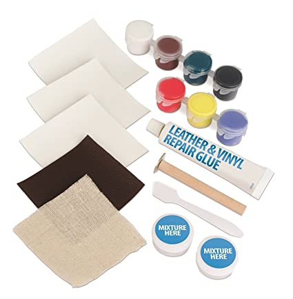 NEW Leather And Vinyl Repair Kit Fix Rips Burns Holes Car Boat Seat Color Couch 17