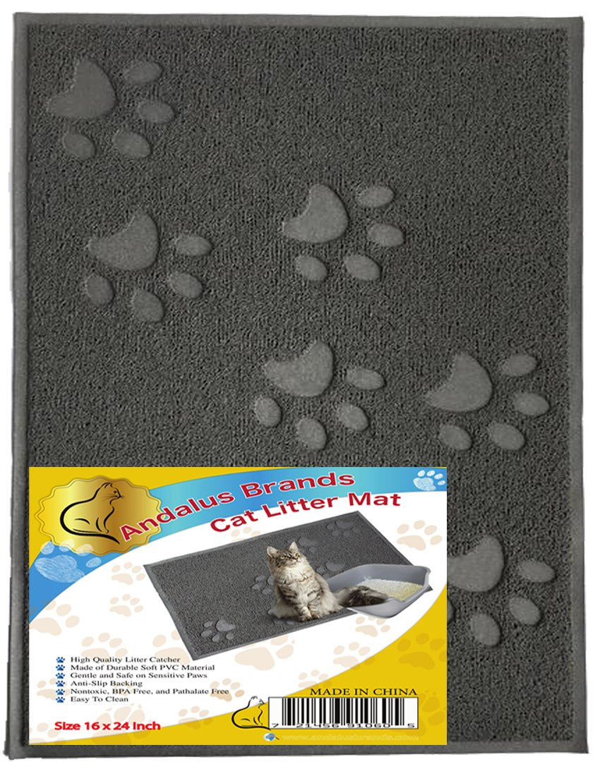 ANDALUS Cat Litter Trap Mat | Small/Large/X-Large Size | Phthalate & BPA Free | Easy to Clean (Large, Gray)