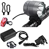 Galwad 5200 Lumen 4x Cree XML U2 LED Waterproof Bike Cycling Bicycle Light Hand-free Headlamp HeadLight + 4x18650 Battery Pack + Charger + Rear Light, 3 Switch Modes for Camping Hiking Bicycling Ridi