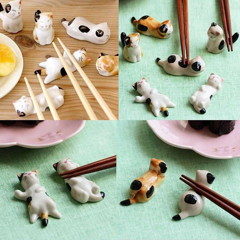Butterme Pack of 6 Cute Chinese Panda Pattern Ceramic Chopsticks Rest Stand Rack Porcelain Spoon Fork Knife Holders Home Decor ZUMUii