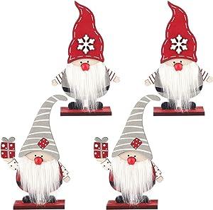 4 Pcs Wooden Christmas Gnome Ornaments- 2 Styles Handmade Swedish Tomte Nordic Nisse Scandinavian Santa Elf Plush Dolls Tabletop Decoration for Winter Xmas Thanksgiving Holiday Centerpiece Decor