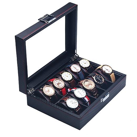 The perseids Fibra Carbono Reloj Caja para 10 Relojes, Estuche para Relojes con 10 Compartimentos