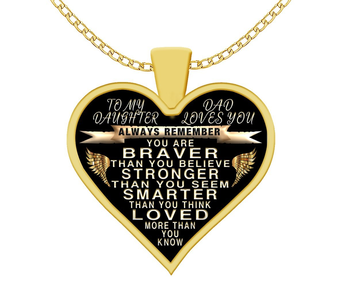To my daughter - from dad - always remember quote heart pendant necklace