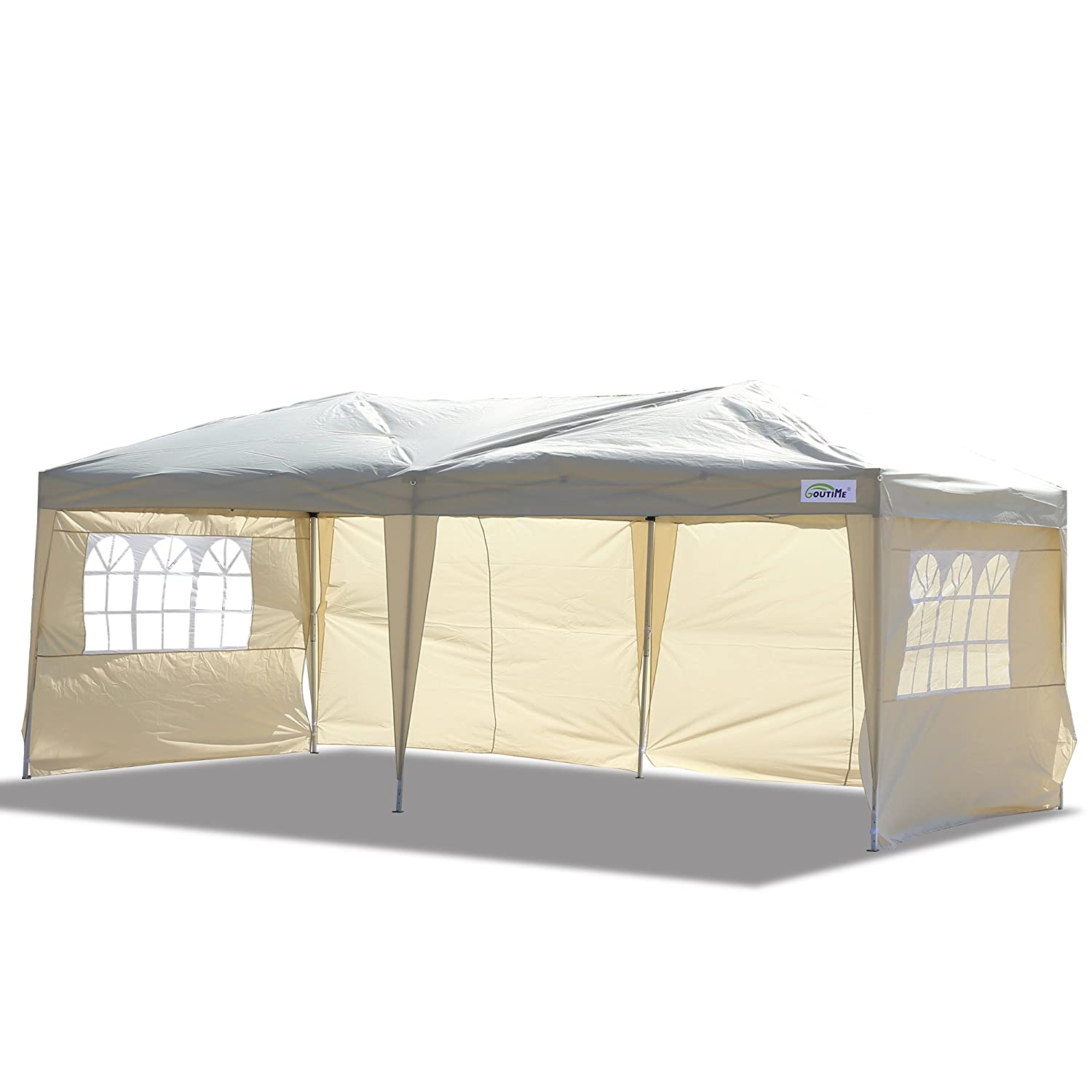 Goutime 10x20 Ft Ez Pop Up Canopy Tent with 4Pcs 10Ft Removable Sidewalls and Wheeled Bag for Outdoor Party Events Uscanopy