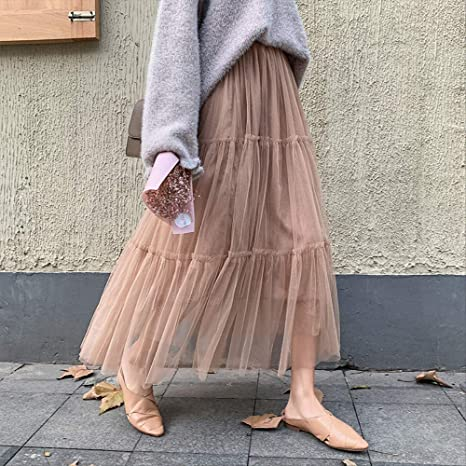 MEILIDE Falda para Mujer Malla Salvaje de Las Mujeres Costura de ...