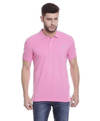 768d1629bb Tempt Men's Premium Poly-Cotton Plain Pink Polo Neck T-Shirt: Amazon ...