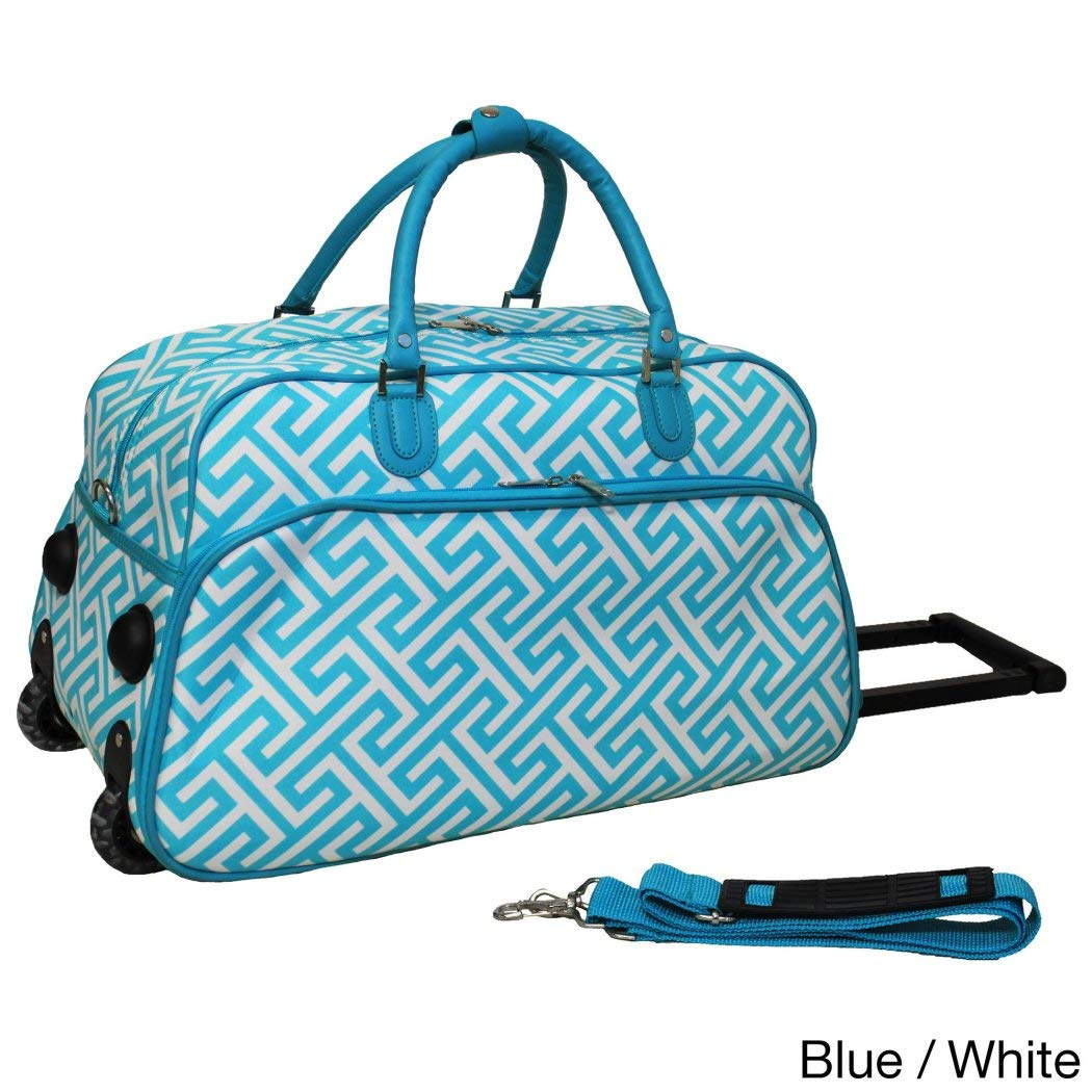 Single Pieceライトブルー幾何パターン軽量Rolling Duffle Bag , 21-inch Carry On Duffleバッグ、ポリエステル素材、multi-compartment、回転、折りたたみ式、Softsided、明るいホワイト B01EYQMM0Q