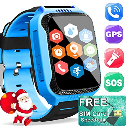 Kids Smartwatch GPS Tracker with SIM CARD - Holiday Electronic Toy Gift Cell Phone Smart Watch for Kids Boy Girl Fitness Tracker - Two Way Call SOS ...