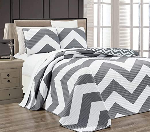 3pcs Light Gray Bamboo Fiber Cooling Blanket Set Cross-Stitch Quilted Bedspread