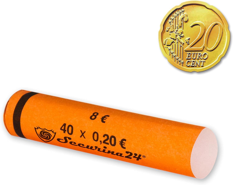 Securina24/® 112 x 20 centimes ou 119 pi/èces m/élang/ées Tubes pour pi/èces de monnaie 1 centime /à 2 euros