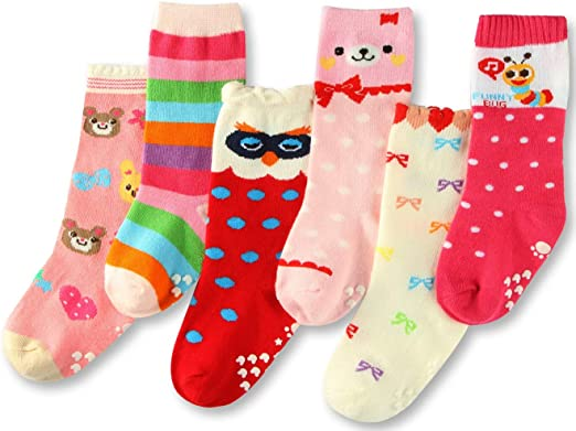 3 Pairs Toddler Socks Numbers Patterns Kids Non Skid Knee High Cotton Socks for Infant Baby Boys Girls