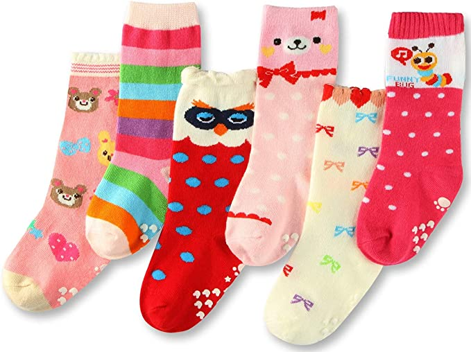 5 Pairs LA Active Girls Knee High Grip Socks Baby Toddler Infant Kids Non Slip//Anti Skid Cotton Cable Knit Stockings